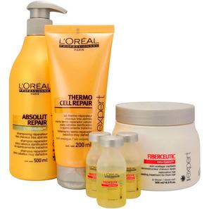 L'Oréal Professionnel Fiberceutic Ritual de Reconstrução Cabelos Grossos Com Química Kit (4 Produtos)