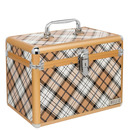 maleta alumínio - estampa xadrez marrom